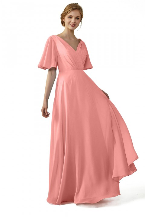 Casual V-Neck Flutter Chiffon Bridesmaid Dress with Sleeves