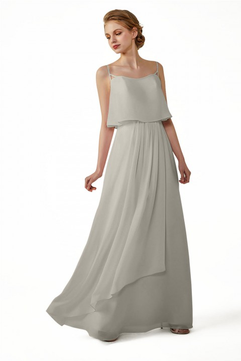 Boho Spagetti Straps Chiffon V-Neck Bridesmaid Dress