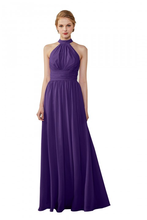 High Neck Chiffon Lace Triangle Back Halter Bridesmaid Dress