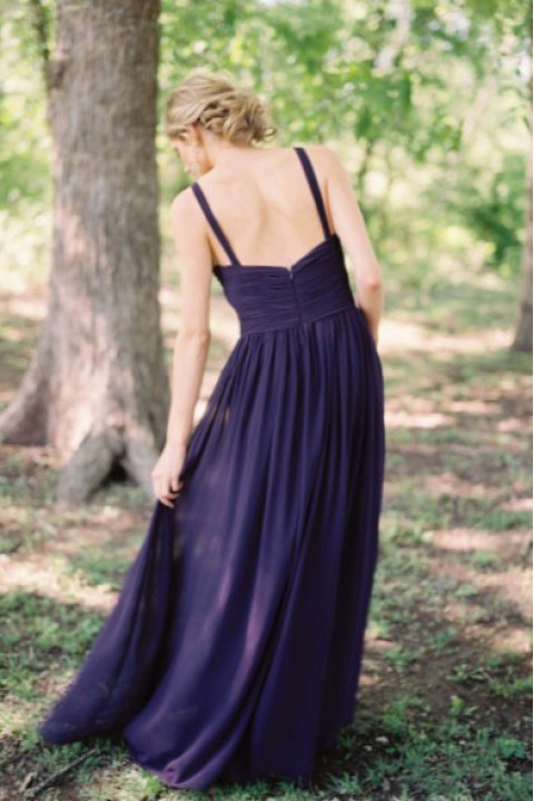 Straps Criss-Pleated V Neck Bridesmaid Dress Long