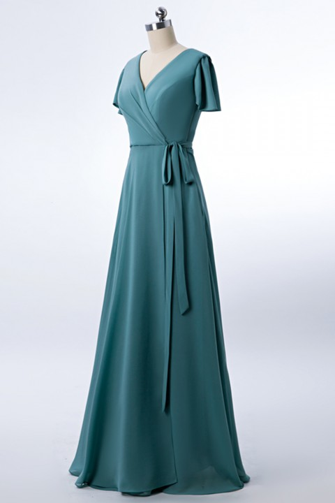 V-neck Short Sleeves Side Slit Skirt Chiffon Bridesmaid Dress with Belt