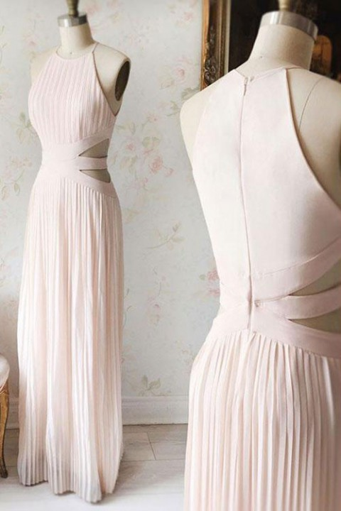 Spaghetti Straps Halter Pleated Long Midriff Bridesmaid Dress