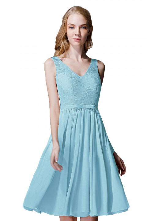 V-Neck Lace Bodice Straps Detail Back Short Bridesmaid Dress with Belt