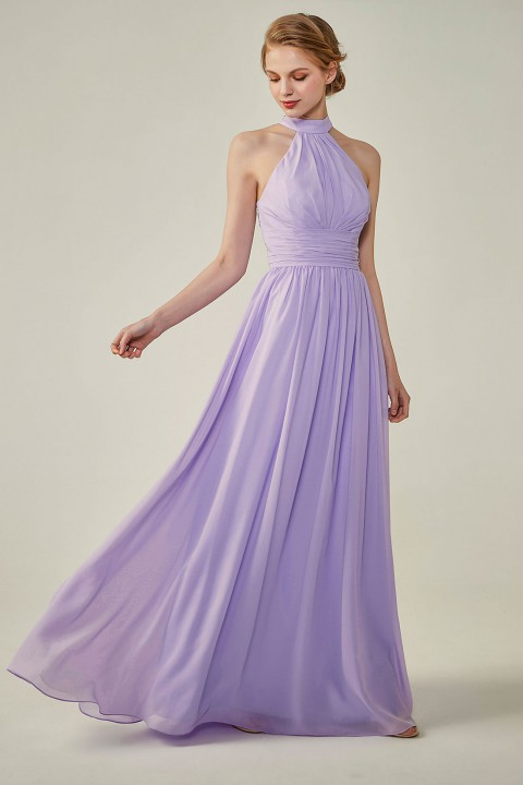 Clearance | Halter Neckline Chiffon Lace Back Halter Bridesmaid Dress with Sash