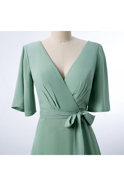 V Neck and Back Tied Waist Ruffled Hem Chiffon Bridesmaid Dress with Side Slit