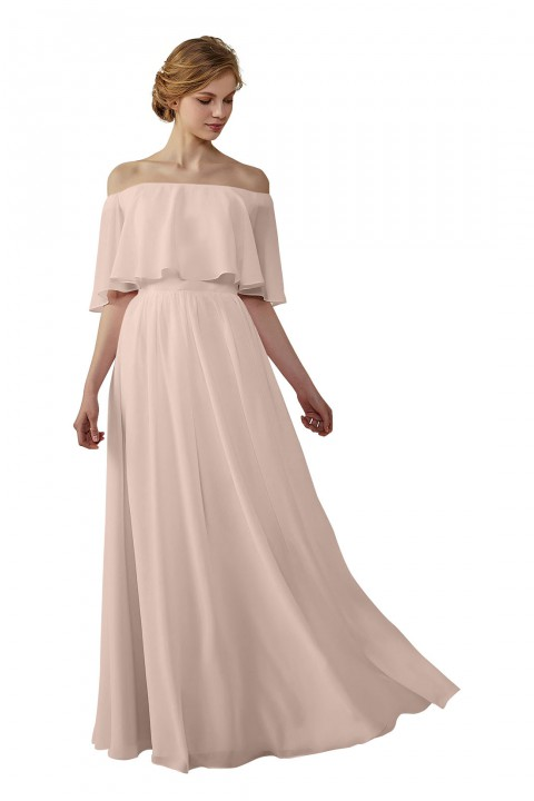 Bohemian Style Off Shoulder Chiffon Flounce Top Bridesmaid Dress