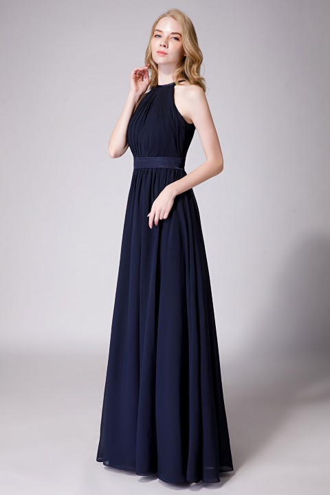 High Neck Halter Pleated Bodice Chiffon Bridesmaid Dress Long