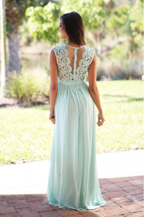 Lace Scoop Illusion Back A-Line Chiffon Bridesmaid Dress Long