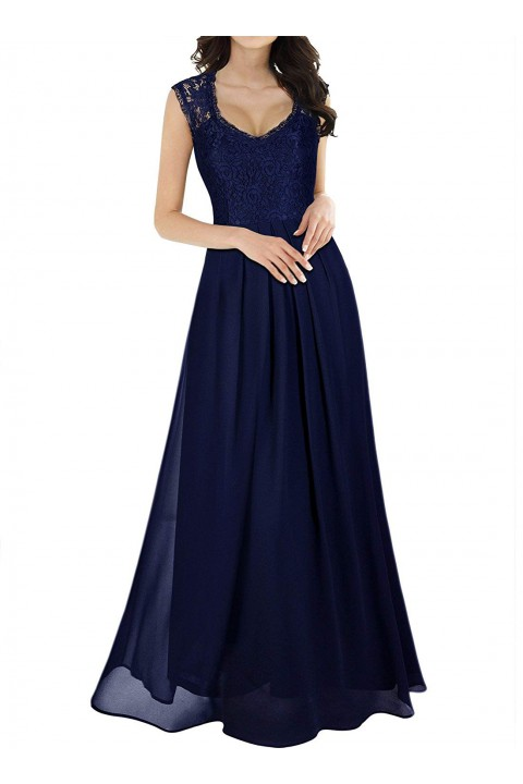 Lace Cap Sleeve Illusion Back Scoop Bridesmaid Dress