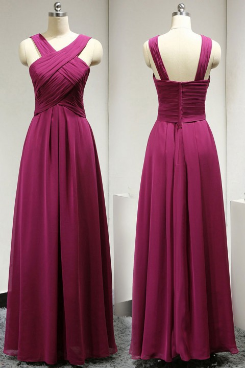 Criss-Cross Halter Long Chiffon Pleated Bridesmaid Dress with Straps Back