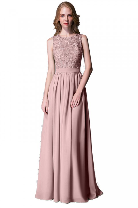 Lace Upper Body Chiffon Bridesmaid Dress without Sleeves