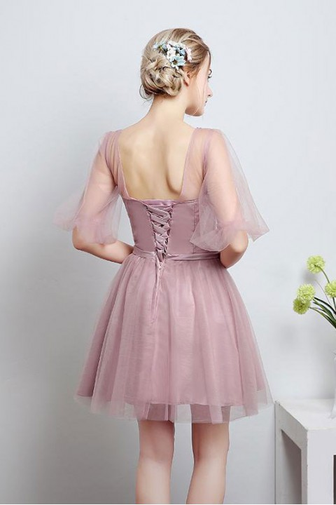 Tulle Illusion Scoop Corset Back Short Sleeve Bridesmaid Dress with Sash