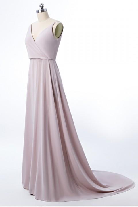 Low V Neck & Back Spaghetti Straps Bridesmaid Dress with Train