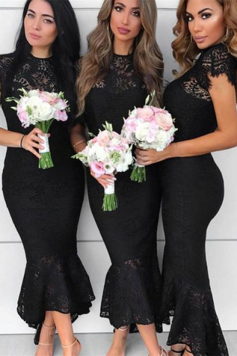 Lace illusion mermaid bridesmaid dress short