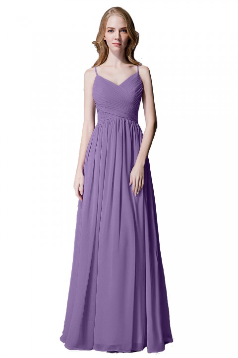 Spaghetti Straps Pleated Chiffon Bridesmaid Dress with Lace Open Back