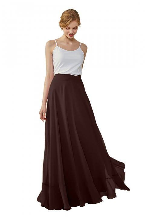 Long Chiffon Bridesmaid Skirt with Slit
