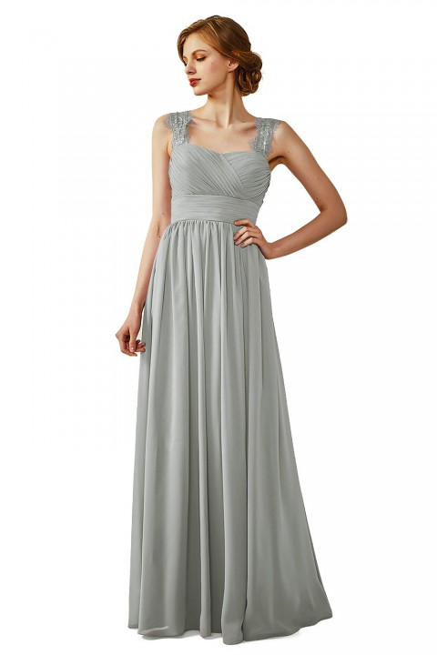 Ruched Long Chiffon Open Back Lace Bridesmaid Dress