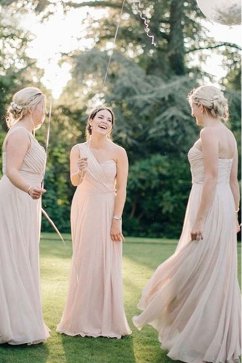 Asymmetrical One Shoulder Pleated A-Line Bridesmaid Dress