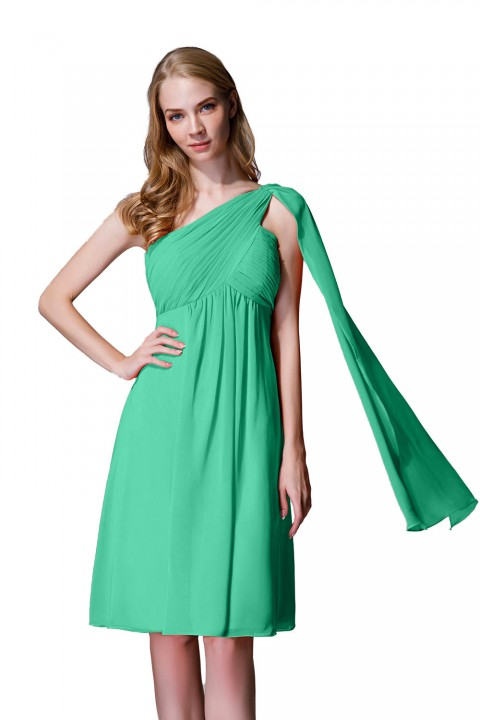 One-Shoulder Pleated Chiffon Short Bridesmaid Dress With Flowing Cape