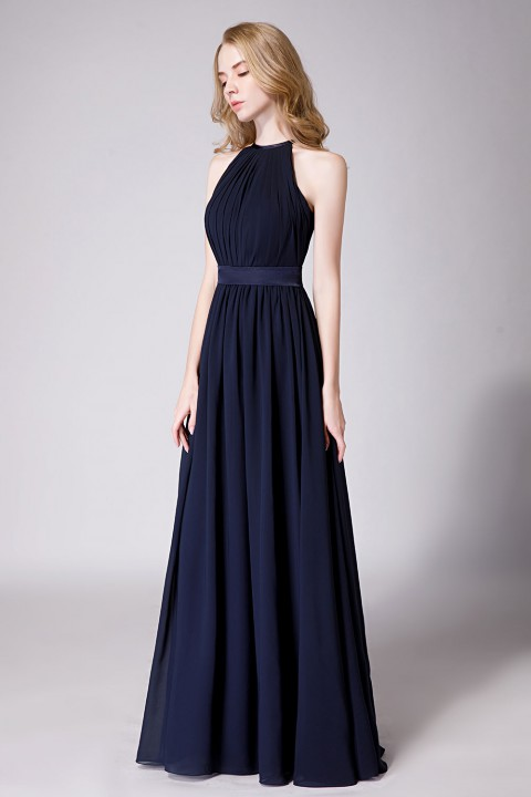 f868435823fab High Neck Halter Pleated Bodice Chiffon Bridesmaid Dress Long