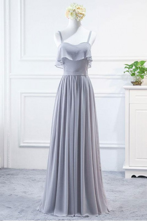Spaghetti straps ruffle bridesmaid dress long with corset