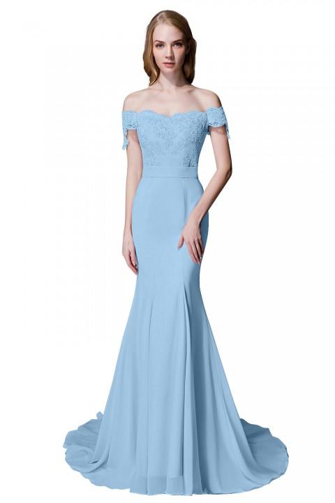 Elegant Mermaid Off Shoulder Chiffon Lace Straight Bridesmaid Dress with Train
