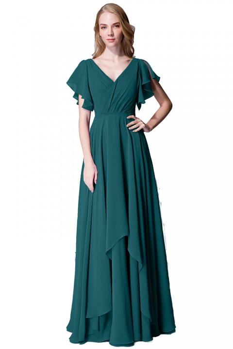 Flutter Sleeve Chiffon Ruched V Back Bridesmaid Dress Long