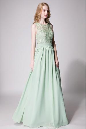 6bfc69324fe3 Lace Upper Bodice Illusion Scoop Neck Chiffon Bridesmaid Dress Sleeveless