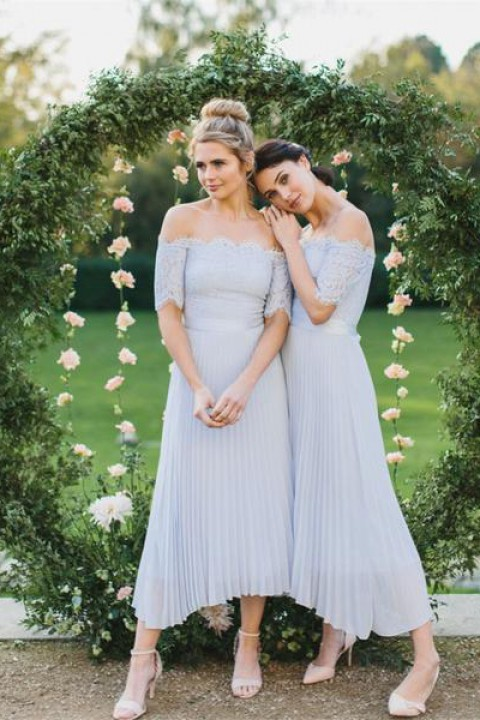 Lace Off Shoulder Straight Pleated Bridesmaid Dress with Short Sleeves