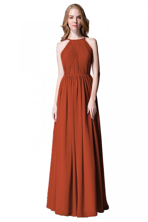 Pleated A-Line Halter Spaghetti-Straps Back Chiffon Bridesmaid Dress