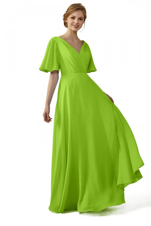 Casual V-Neck Flutter Sleeves Chiffon Ruched Bridesmaid Dress with Keyhole Back