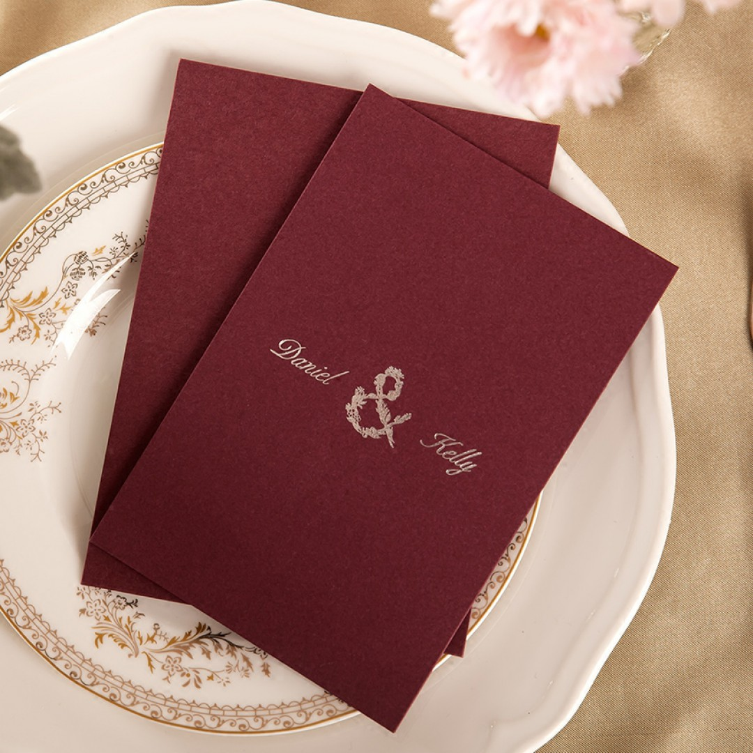 Silver Foil Pressed Wine Wedding Invitation