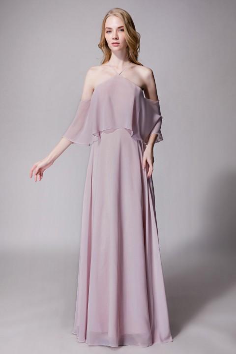 Y Neck Ruffle Chiffon Multi Wear Bridesmaid Dress Long