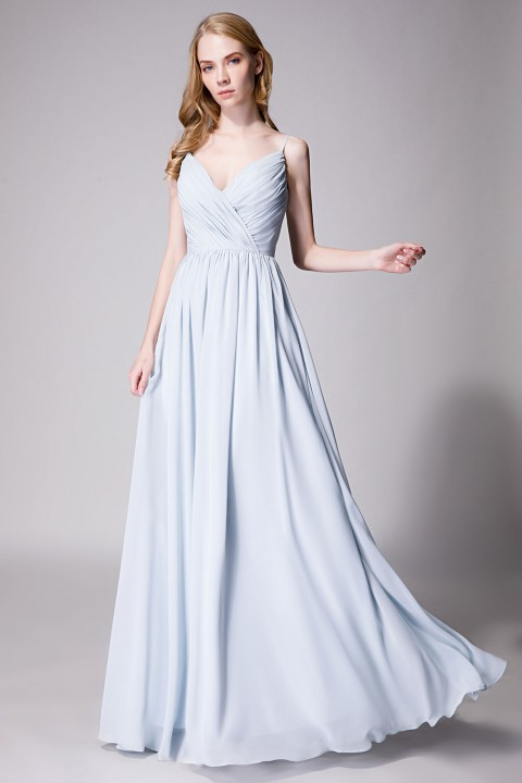 Clearance | Spaghetti Straps Chiffon Bridesmaid Dress Open-back