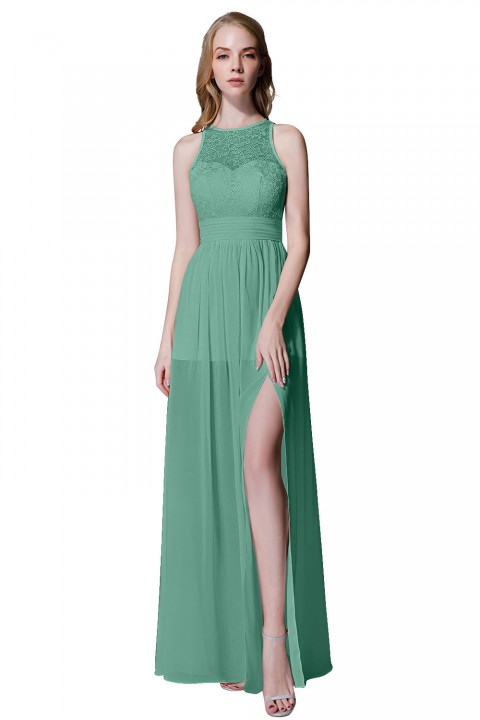 Illusion Lace Neck & Back Scoop Side Slit Bridesmaid Dress
