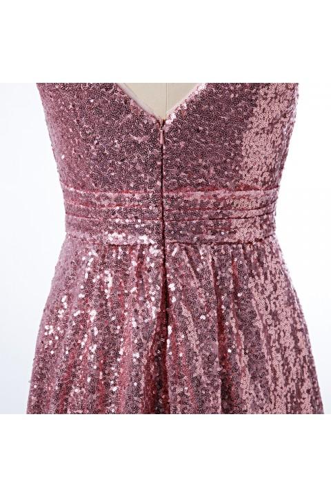 V Neck Ruched Bodice Glitter Sequin Birdesmaid Dress