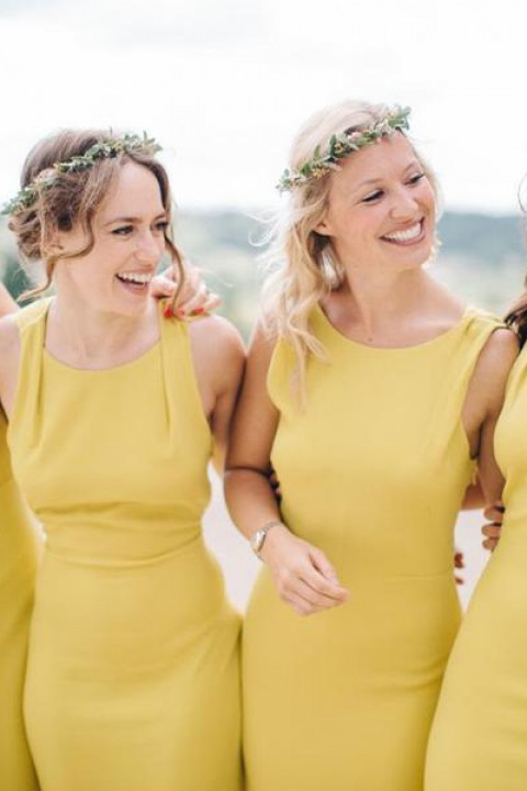 Bow Back Scoop Neck Side Slit Column Bridesmaid Dress Column