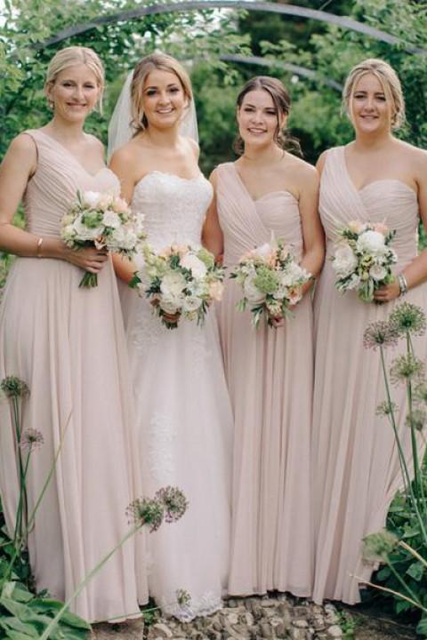 Asymmetrical One Shoulder Pleated A-Line Bridesmaid Dress
