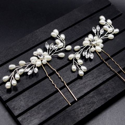 Set of 3 Pearl Hair Pins Wedding Sticks