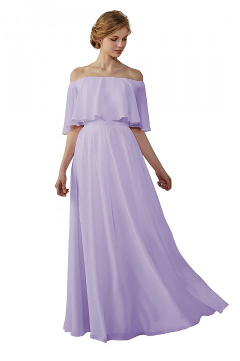 Bohemian Style Off Shoulder Chiffon Bridesmaid Dress