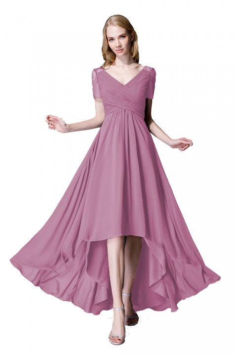 Criss Pleated V-neck High-low Chiffon Bridesmaid Dress with Illusion Sleeves