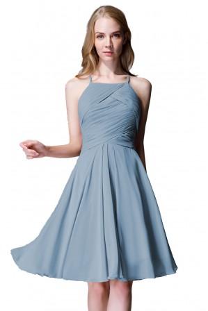29a1ec2e1d Elegant A-Line Tea Length Halter Bridesmaid Dress