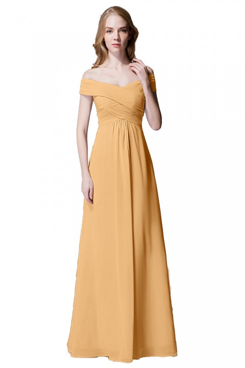 Crisscross Off-the-Shoulder Pleated V-back Bridesmaid Dress Long