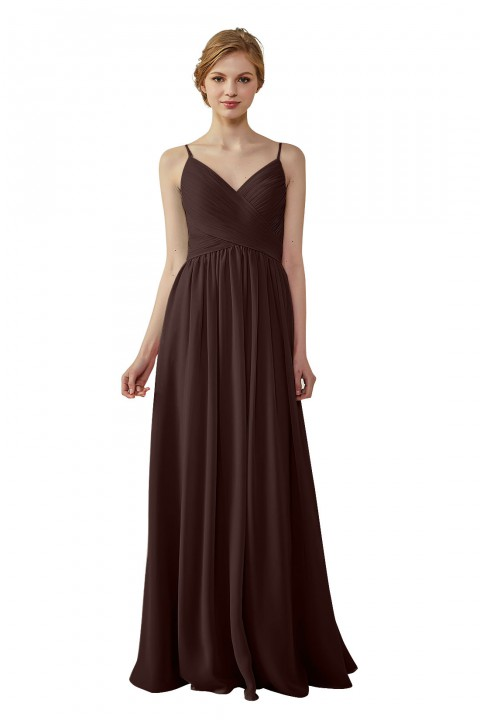 Spaghetti Straps Pleated Low V Back Bridesmaid Dress
