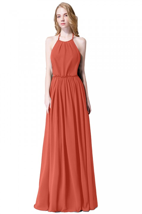 Halter Spaghetti Strap Open Back Chiffon Bridesmaid Dress with Sash