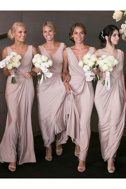 V neck pleated long bridesmaid dress