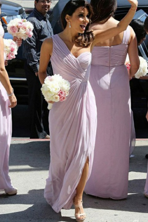 Asymmetrical One Shoulder Ruched Bridesmaid Dress with Slit