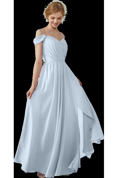 Clearance | High Split A-Line Off the Shoulder Spaghetti Straps Chiffon Bridesmaid Dress