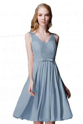 665ecb9c445 Dusty Blue Short Bridesmaid Dresses - Collections Blue Images