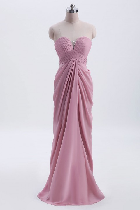 Spaghetti Straps Chiffon Drape Bridesmaid Dress